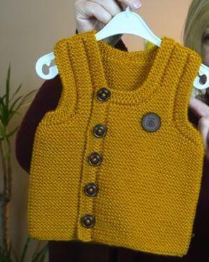 Örgü Sarı Önden Düğmeli Erkek Bebek Yelek Modeli-Türkçe videolu baştan sona açıklamalı Örgüden Şiş İşi Sarı Bebek Yelek Modeli. Bu güzel Önden Düğmeli Bebek Süveteri için nako renk vega 10649 yumak…