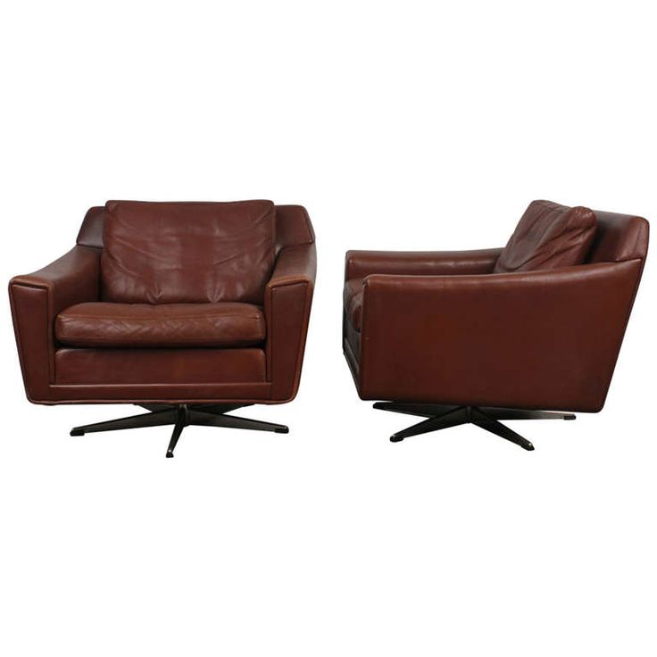 Charming Pair Of Danish Mid Century Modern Leather Low Swivel Chairs