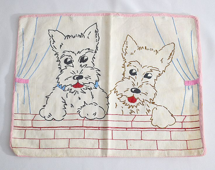 Vintage 1930s Hand Embroidered Scottie Dog Terrier Baby Small Pillow Case 14 X 11 by DodiesDrawer on Etsy