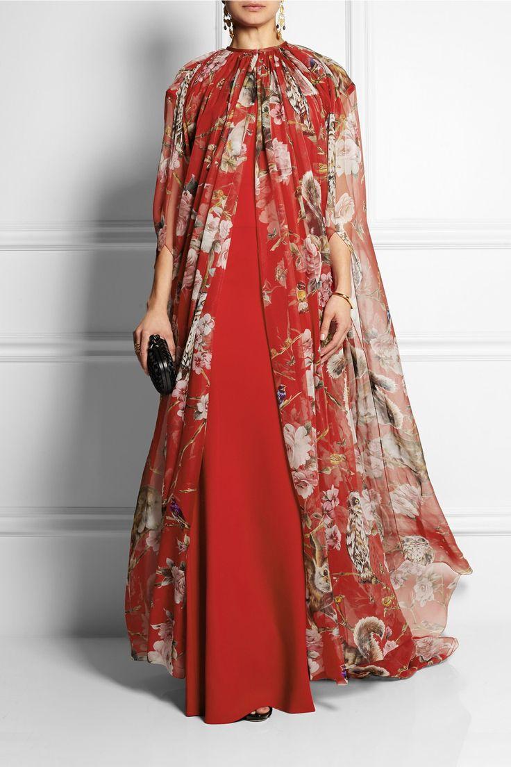 Dolce & Gabbana | Printed silk-chiffon cape | $3000 at NET-A-PORTER.COM