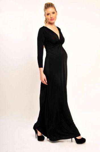 Three-quarter Sleeve Long Maternity Dress