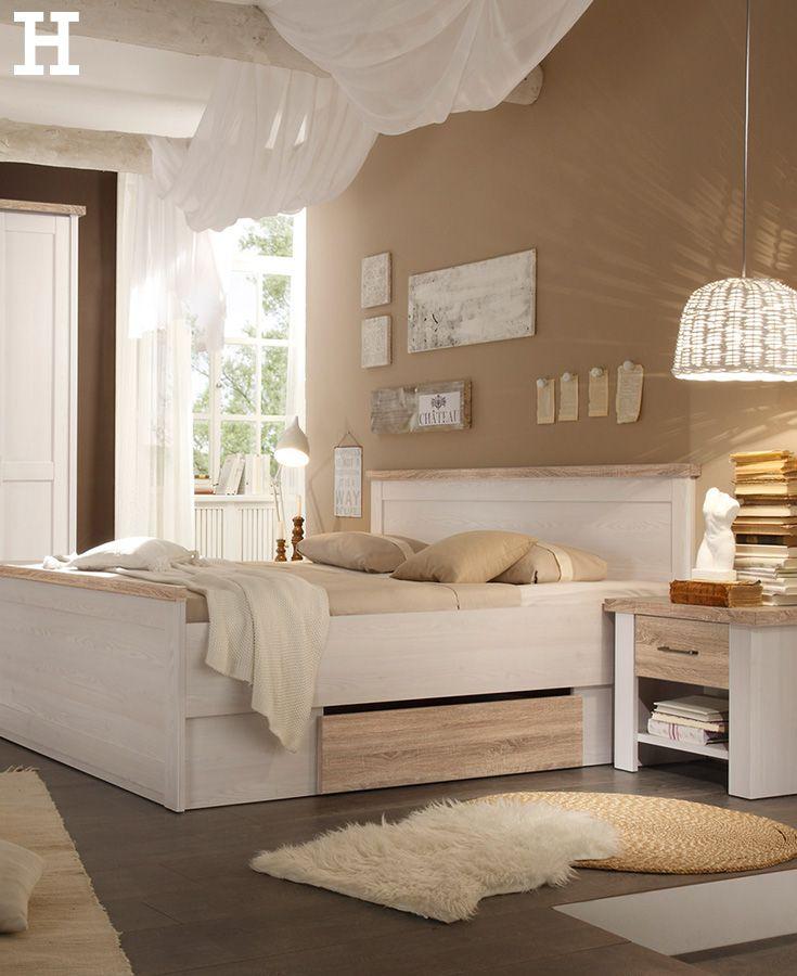 Bett Mit 2 Nachtkommoden 180x200 Weiß Eiche Optik