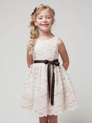 Ivory Beautiful Floral Lace Flower Girl Dress (Sizes 2-10 in 5 colors)