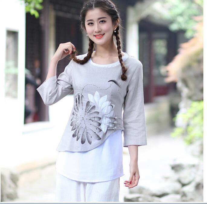 Style Chinese Women's Linen Tops/Shirt Blouse Cheongsam Sz: 6 8 10 12 14 16