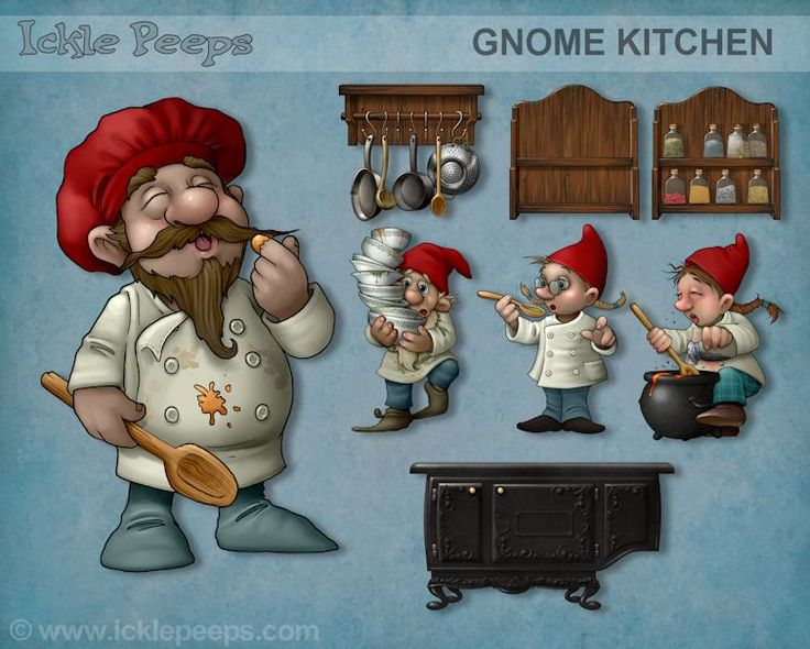 A set of 4 Gnomes and 4 additional props in PNG format