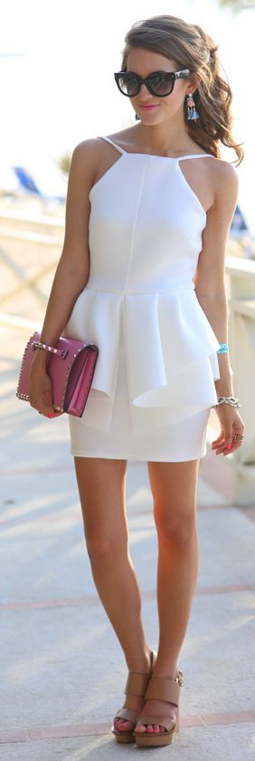 White Backless Peplum Dress