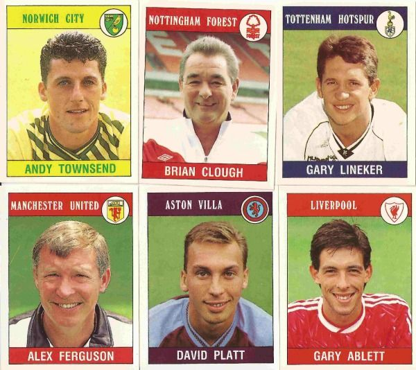 1990 football stickers from Panini.