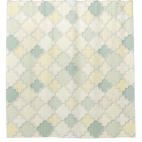 Quatrefoil Motif in Pastel Yellows and Greens Shower Curtain Check out this wonderful shower curtain. Get something different than what is in the store. #showercurtain #bathroomdecor #bathroomideas