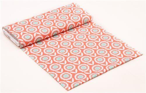 pfirsich orange-roter Blumen Stoff Hello Sunshine Michael Miller USA - Blumenstoffe - Stoffe - kawaii shop modeS4u