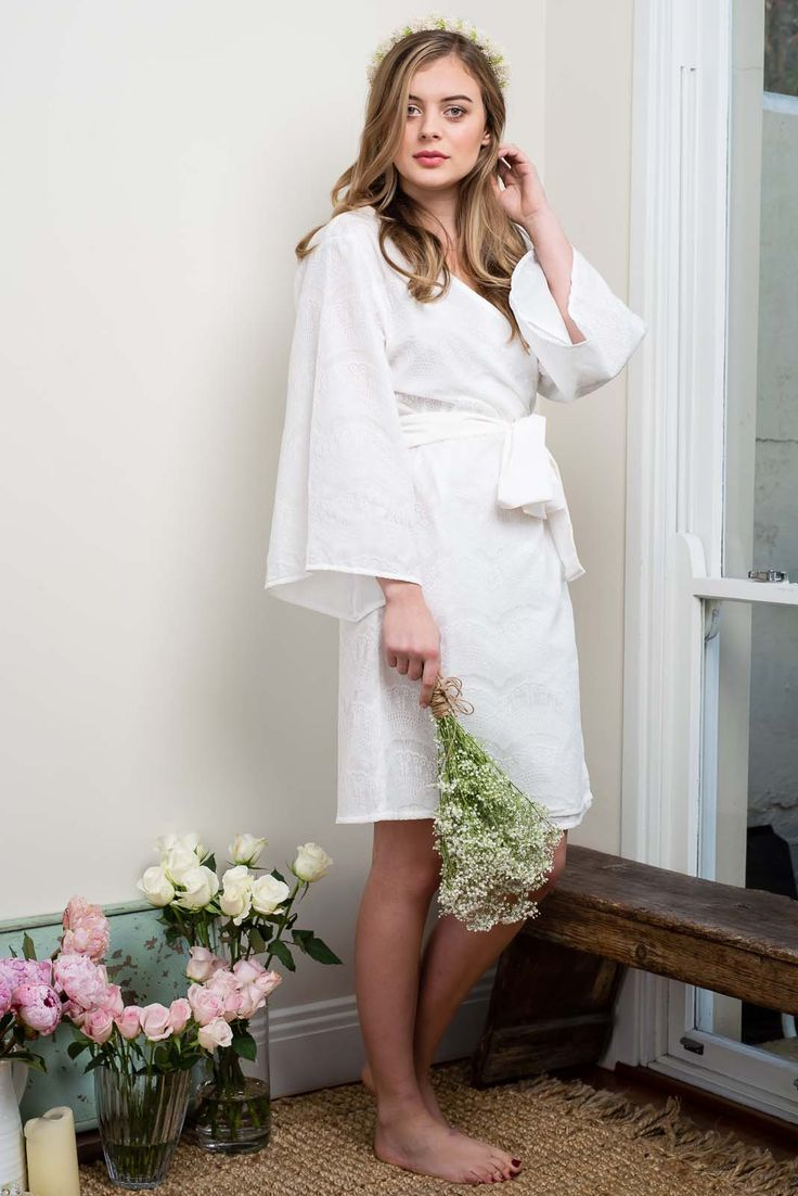 PRE-ORDER | Off White Camellia Lace Overlay Robe | Knee Length - Ivy & Matilda