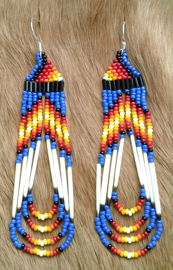 Cobalt Sunrise Porcupine Quill Earrings by prettyuniquedesigns2, $10.00