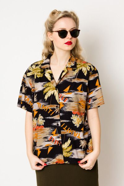 Tahiti palm printed vintage cotton shirt  w Vintage For Ever  na DaWanda.com