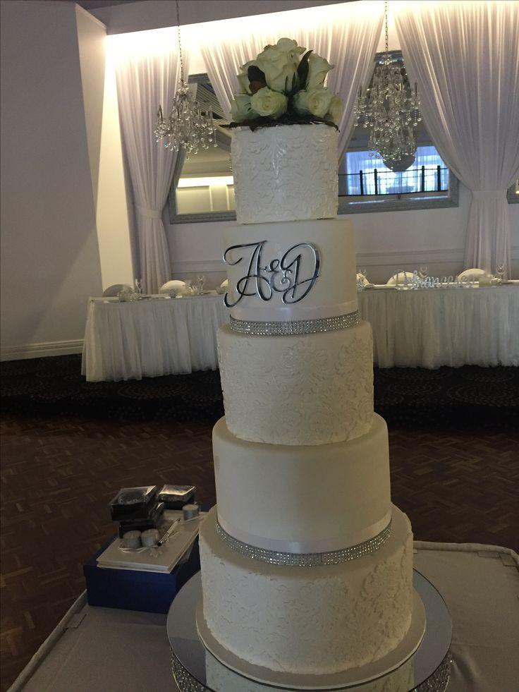 5 tier double height wedding cake