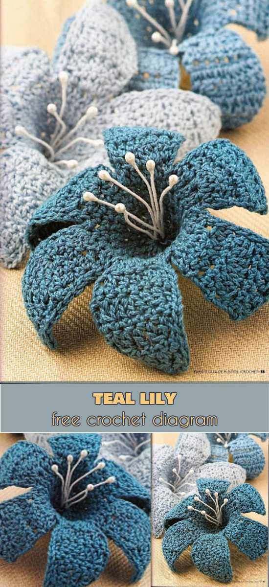 3D Teal Lily [Free Crochet Diagram] Stunning crochet flower motife Follow us for ONLY FREE crocheting patterns for Amigurumi, Toys, Afghans and many more!