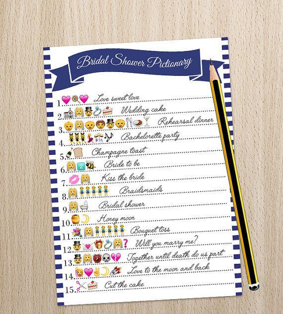 Wedding Charades Ideas: Wedding Emoji Pictionary Bridal Shower Game By