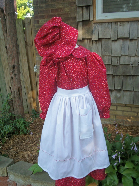 Girls Pioneer Dress  Bonnet and Embroidered Apron