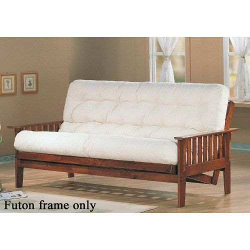 """Futon Frame Mission Style in Dirty Oak Finish by Coaster Home Furnishings. $356.68. Some assembly may be required. Please see product details.. Dimension: 85""""L x 54""""D x 33 1/2""""H Finish: Dirty Oak Material: Wood Futon Mission Style in Dirty Oak Finish Features straight arms and side in mission style. Item is a great addition to your home for overnight guests or use in a child's room for versatility. For futon frame only, futon mattress is available separately. Assembly required."""
