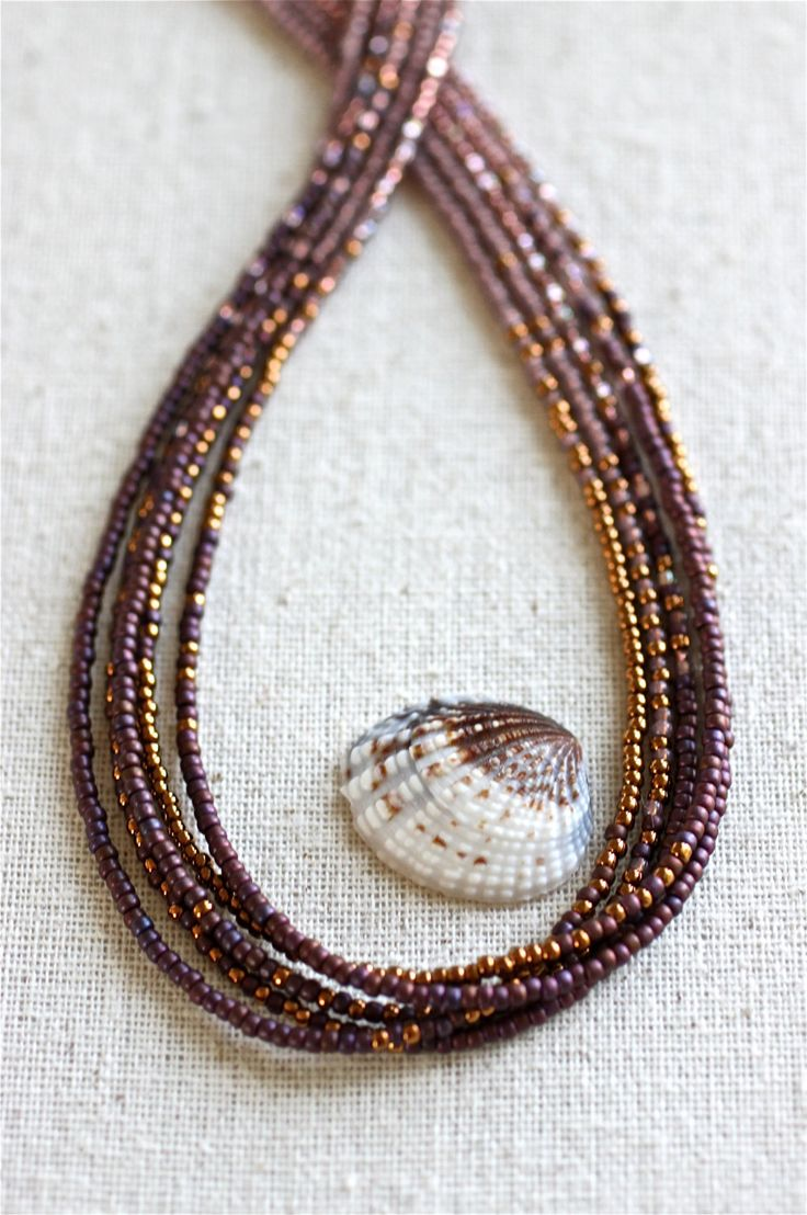 Multi Strand Seed Beaded Necklace. Dark Violet and Gold for Fall. Ombre Necklace. OOAK. Cornicello Seed Beaded Necklace. Handmade Jewelry. by bellacornicello on Etsy