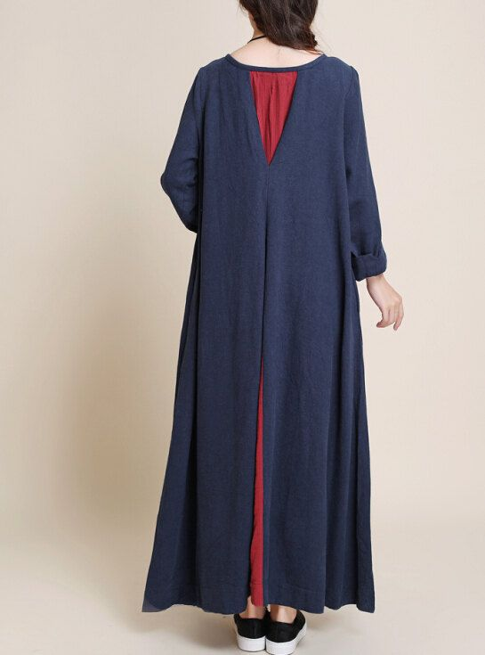 Spring Oversized loose maxi dress linen long sleeved by MaLieb