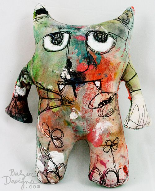 Paint Rag Ugly Doll, kids cout pint the fabric with print ink before they cut out and create , or add painted details after?