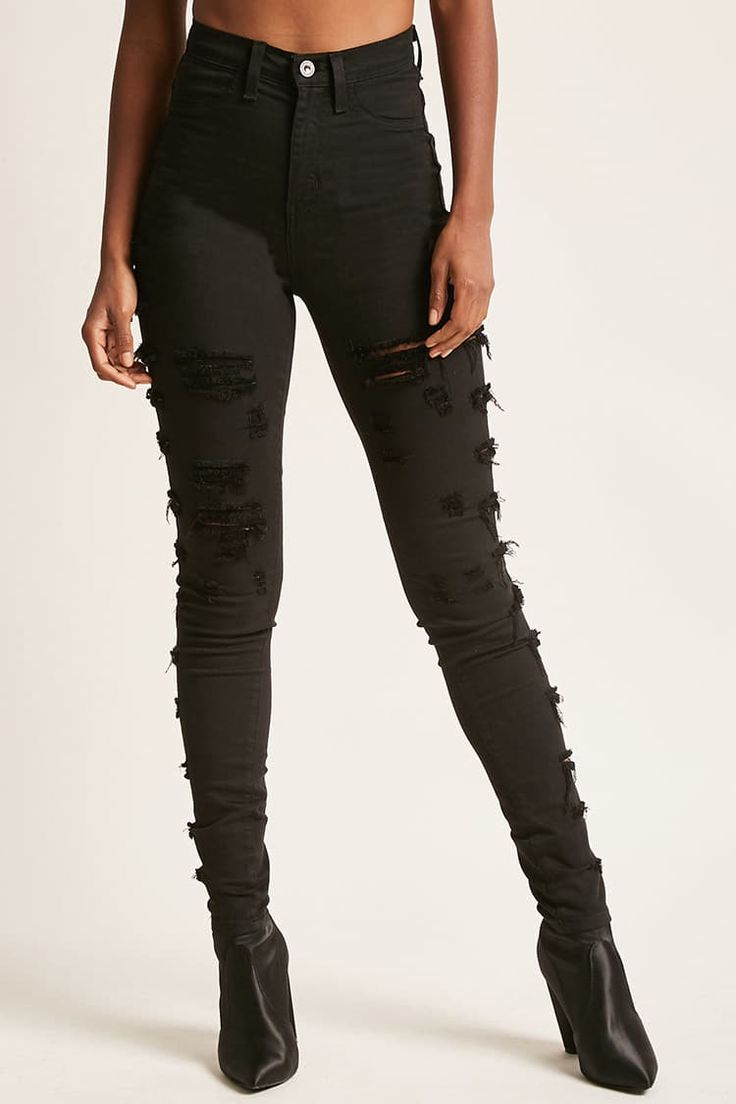 Distressed Ladder-Cut Jeggings