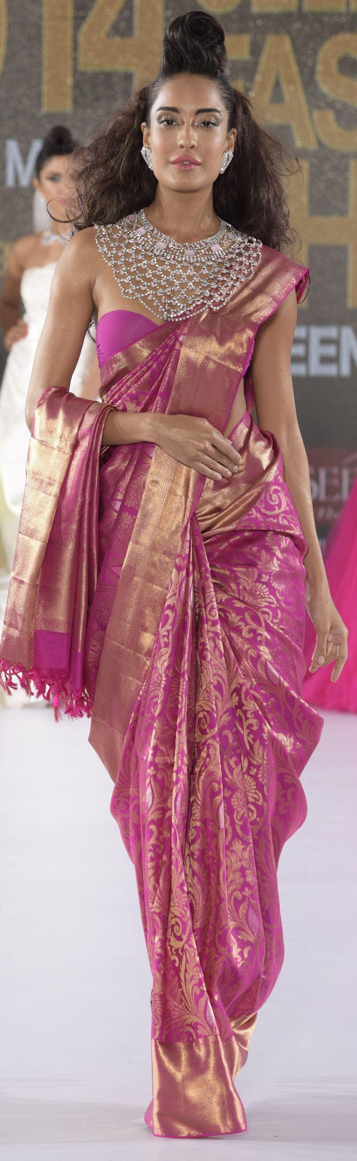 Lisa Haydon in Beena Kannan Designed Silk Saree
