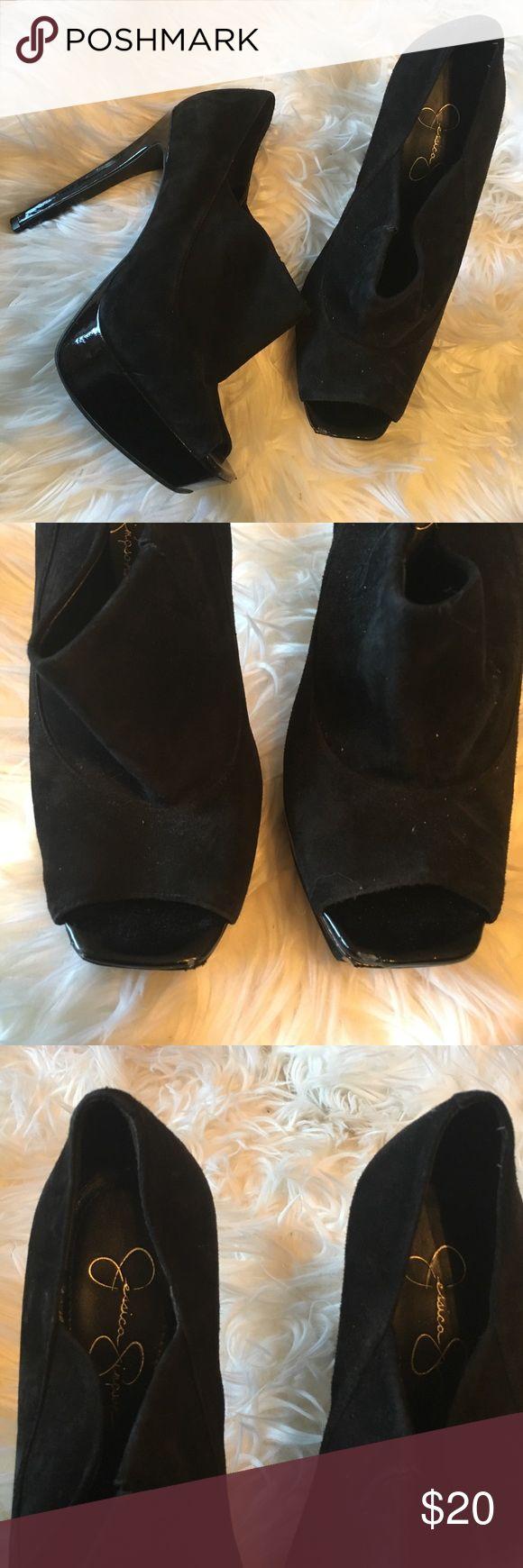 Jessica Simpson Patent Suede Platform Pumps 1-inch Platform, 5-inch Heel Jessica Simpson Shoes Heels