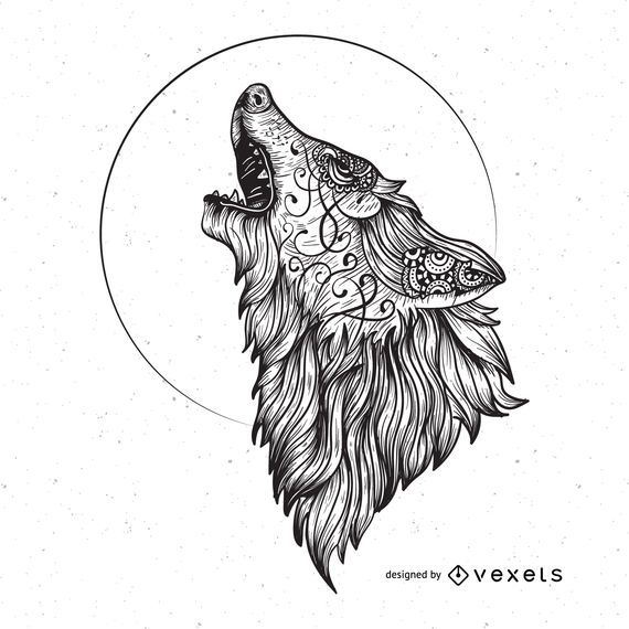 Wolf Illustration Showing The Animal Howling Designed In A Hard Drawn Line Art Style With Some Swirly Details Angry Wolf Wolf Illustration Wolf