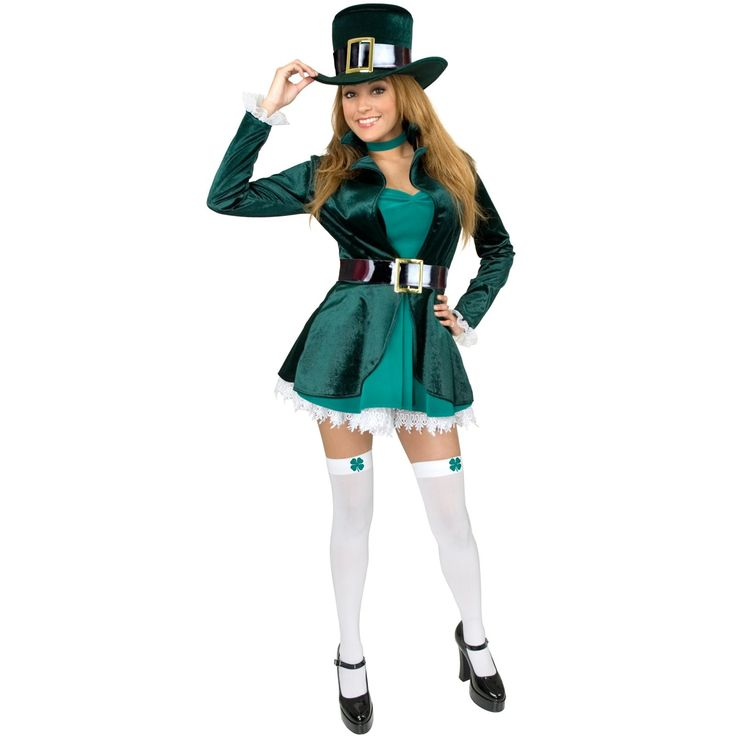 Sexy Leprechaun with Hat Adult Costume - Includes: Dress, belt, choker, stockings, and hat. Petticoat and shoes not included. 3X.