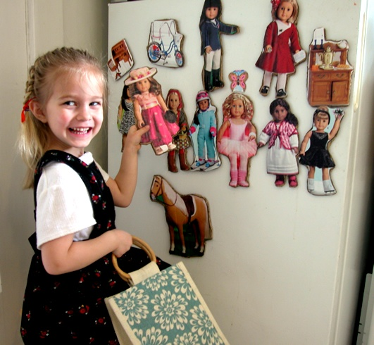 Genius!!! DIY American girl fridge magnets from catalogue. Good idea for gifts!