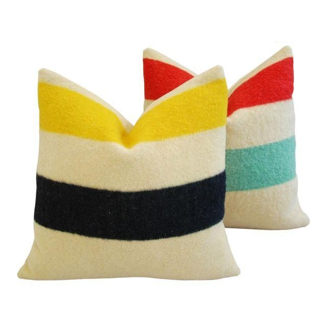 Image of Multi-Striped Hudson's Bay Blanket Pillows -Pair