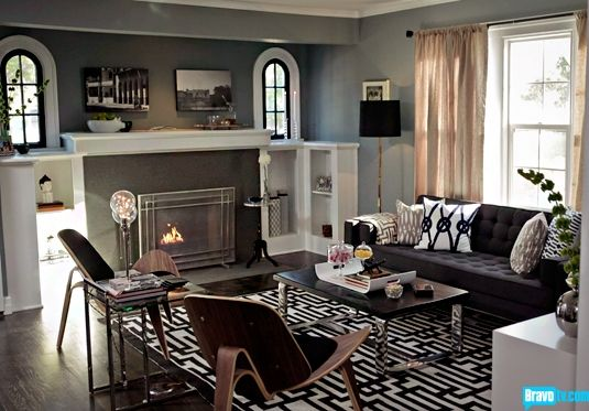 Design inspo for bedroom love the black charcoal white for Jeff lewis living room designs