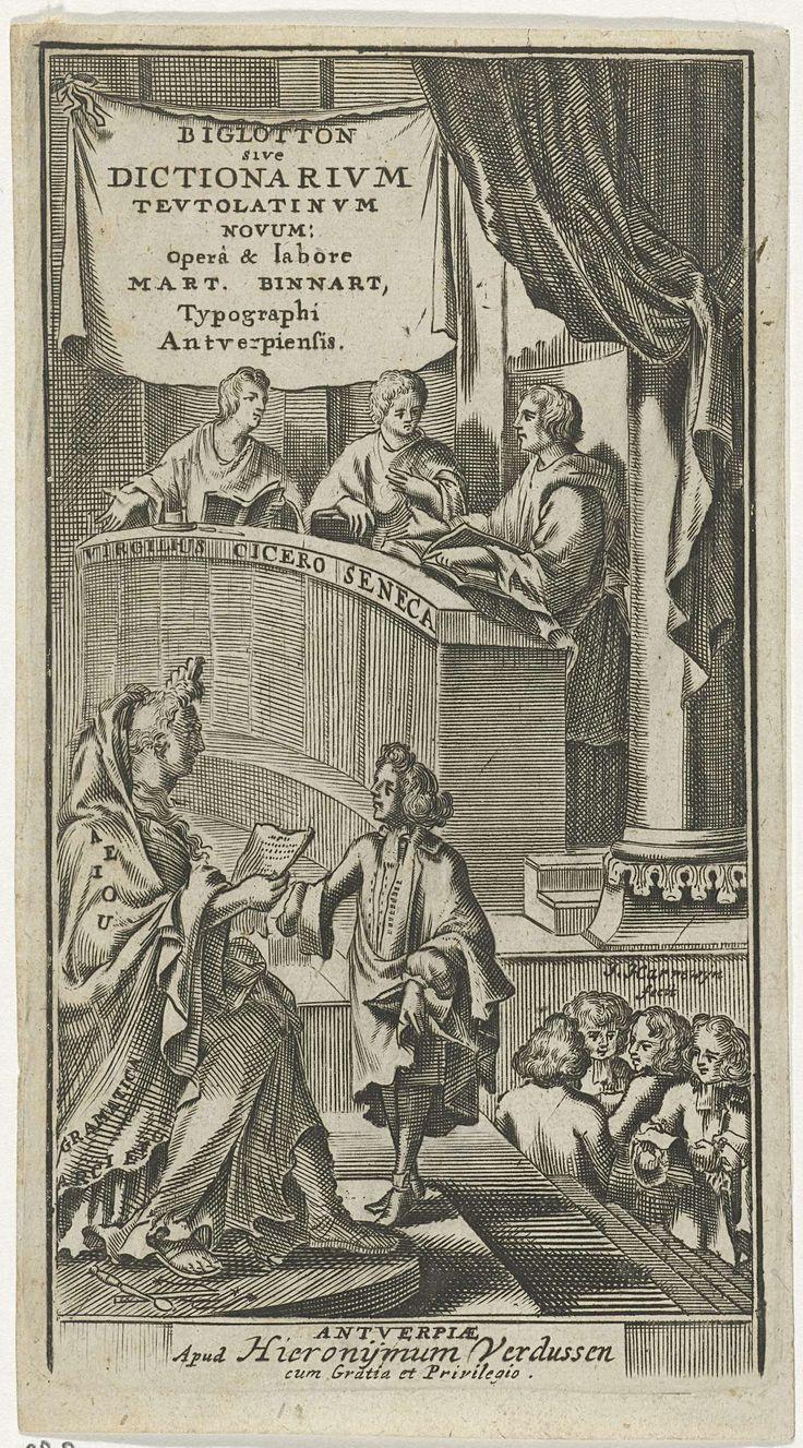 Virgilius, Cicero en Seneca bij Grammatica met leerlingen, Jacobus Harrewijn, Hieronymus Verdussen, 1694