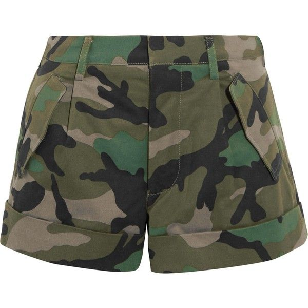 VALENTINO  Camouflage-print cotton-twill shorts ($385) ❤ liked on Polyvore featuring shorts, camoflauge shorts, camo print shorts, camoflage shorts, camouflage shorts and valentino shorts