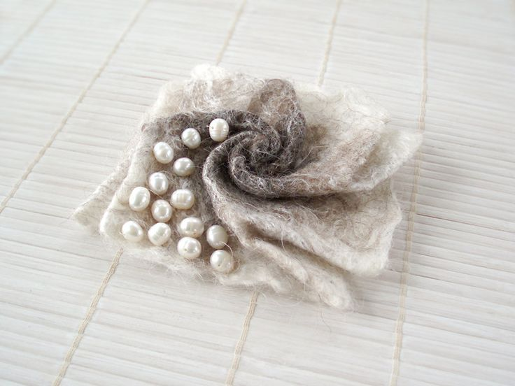 Felted flower brooch ecofriendly origami  flower by EthicStyle, $23.50