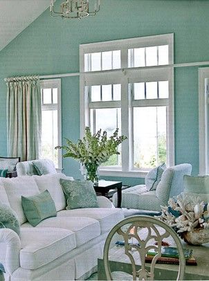 aqua living room: Living Rooms, Beaches House, Wall Color, Coastal Home, Coastal Living, Paintings Color, Turquoi Rooms, Coastal Color, Beaches Cottages