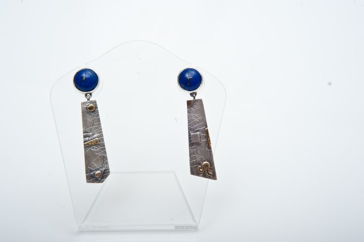 Silver(925) earrings with Lapis and 18 carat gold detail
