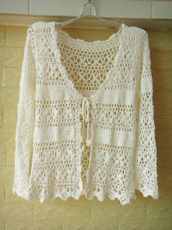 Crochet Cardigan Long Sleeve White Womens by Tinacrochetstudio