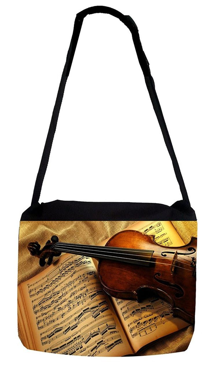 Rosie Parker Inc. TM Medium Sized Messenger Bag 11.75' x 15.5' - Violin and Music Notes Design >>> You can find out more details at the link of the image.