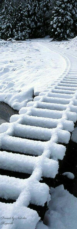 Snow on railroad tracks