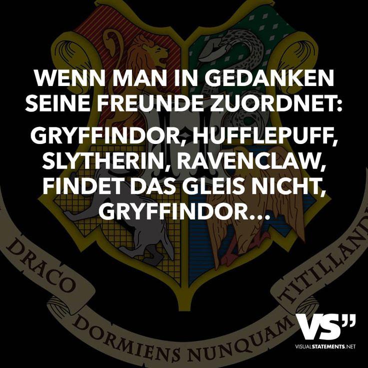 Wenn man in Gedanken seine Freunde zuordnet: Gryffindor, Hufflepuff, Slytherin, Ravenclaw, findet das Gleis nicht, Gryffindor – VISUAL STATEMENTS