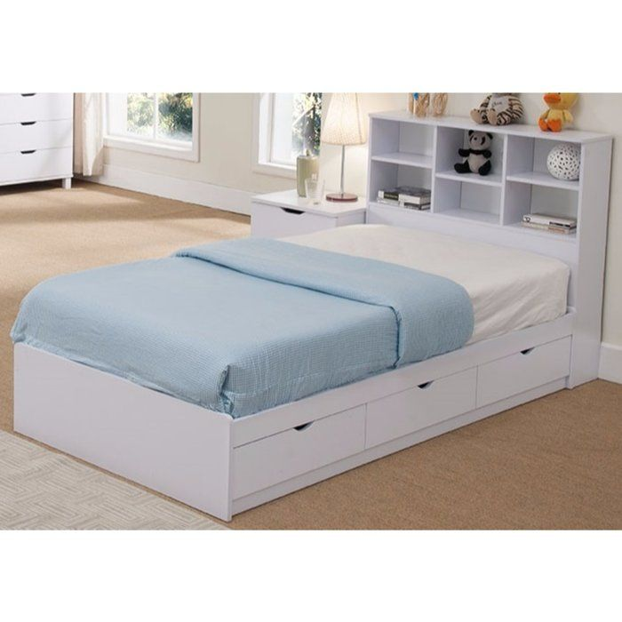 Divito Sophisticated Snow Twin Platform Bed With 3 Drawer Chest