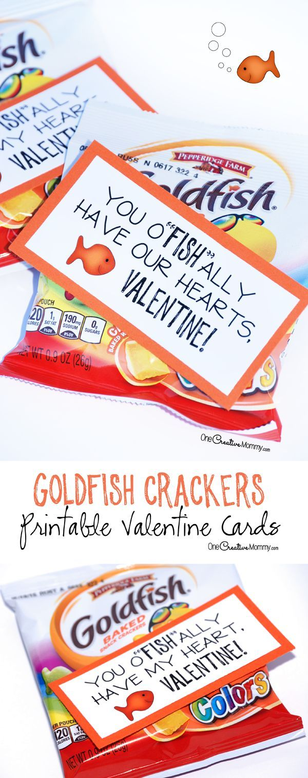 These cute printable valentine cards are so simple! Just print and attach them to your favorite flavor of goldfish crackers. {Perfect for classroom valentines and for family and friends} OneCreativeMommy.com