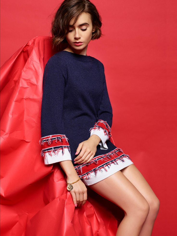 Lily Collins for Barrie Knitwear Spring 2015 Collection | House of premium cashmere knitwear