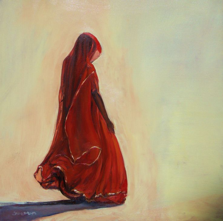 Woman in Red, oil on canvas by Arun Prem @ www.oilpaintingsofINDIA.com
