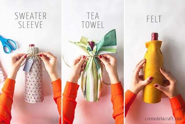 DIY Wine Bottle Wraps (Sweater Sleeve, Tea Towel, Felt) *I like the tea towel in particular since it can then be used the in recipient's home!*