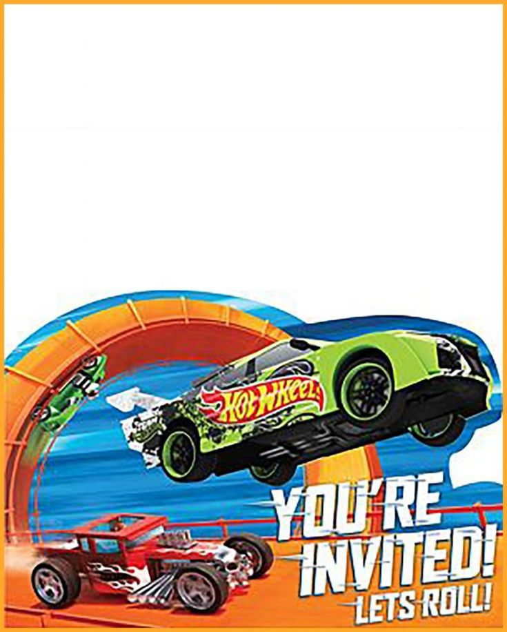 Printable Hot Wheels Birthday Party Invitation