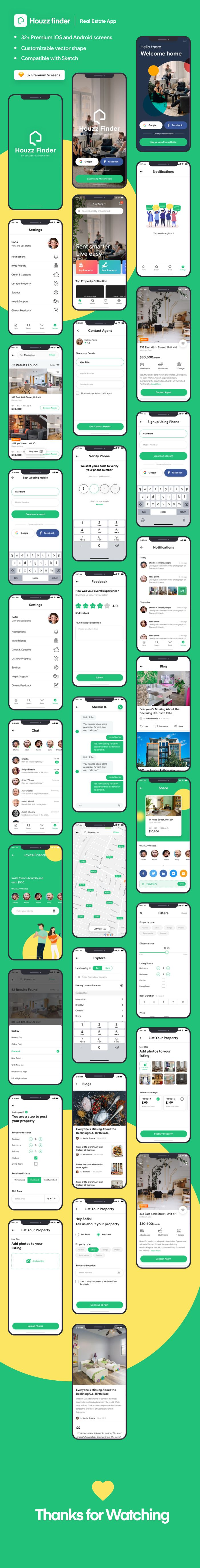 Houzz Finder – A Real Estate iOS Mobile App UI Kit on