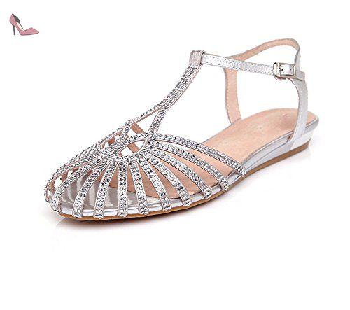 2017 nouvelles sandales femmes d'arrivée marée Baotou sandales plates été femme diamant creux confortables chaussures plates avec grande verges femme ( Color : Argent , Taille : 37 ) - Chaussures tmkoo (*Partner-Link)
