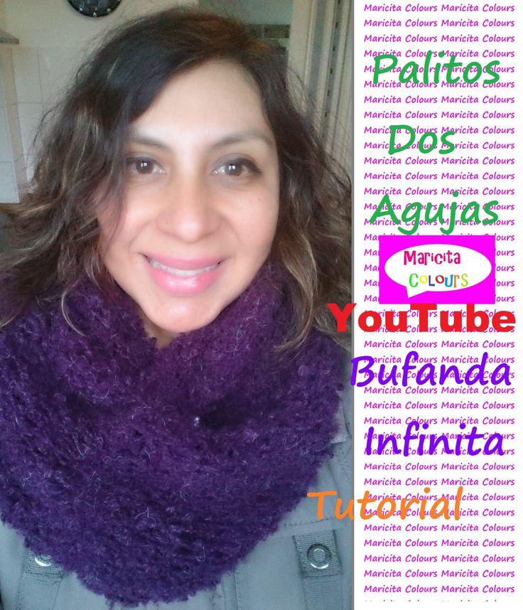 """Dos Agujas Bufanda Infinita """"Trifina"""" /Collar (Parte 1) por Maricita Col..."""